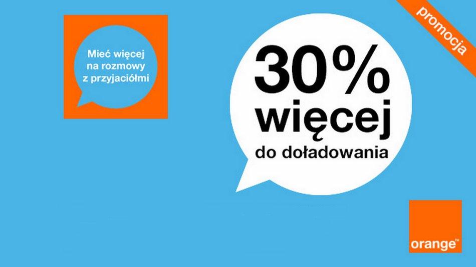30% ekstra za doładowanie przez Internet w Orange