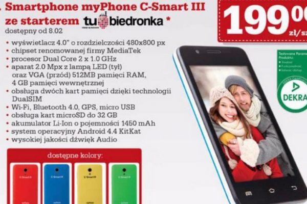 Zestaw myPhone C-Smart III ze starterem tu Biedronka