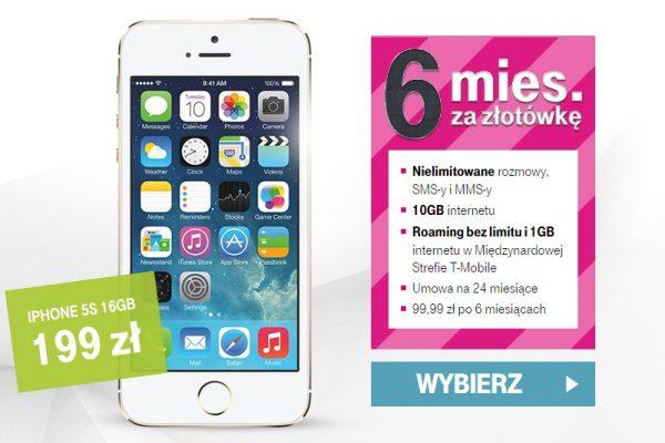 iPhone 5s 16 GB od 9 zł w T-Mobile