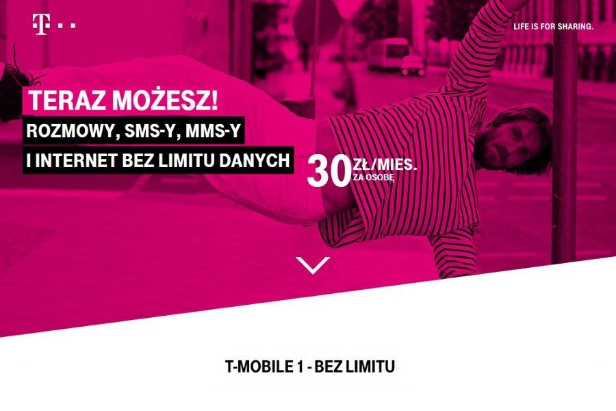 T-Mobile - T1 Bez Limitu od 30 zł na osobę | Komórkomat pl