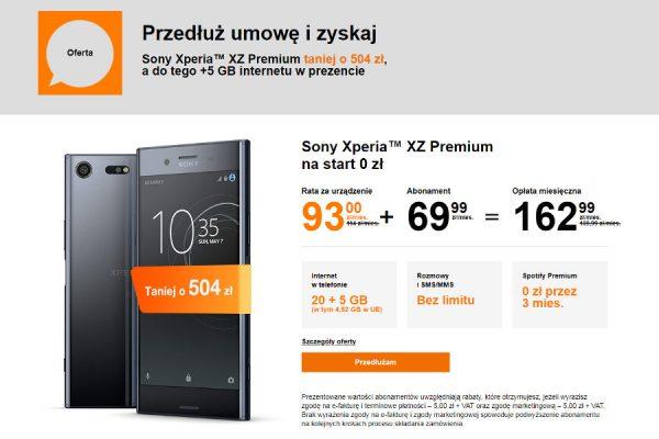Sony Xperia XZ Premium za 0 zł