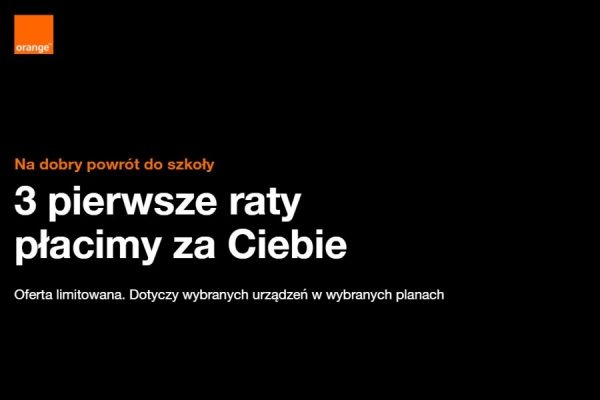 Orange 3 raty za telefon za 0 zł